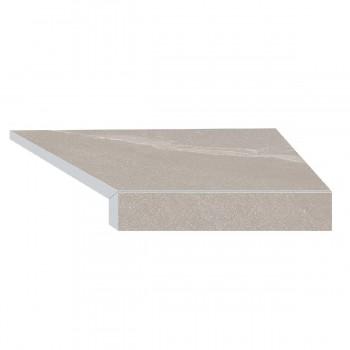 Угловой элемент бортовой плитки Aquaviva Montagna Gray Г-образный, 595x345x50(20) правая/45°