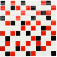 Мозаика Котто GM 4007 C3 black/red m/white 30x30